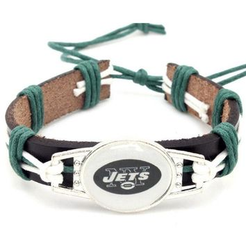 Hot Selling New York Jets Football Team Leather Bracelet Adjustable Leather Cuff Bracelet For Men and Women Fans 10PCS