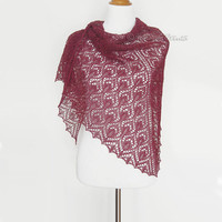 Lace shawl hand knit scarf burgundy red wrap alpaca silk gift triangular