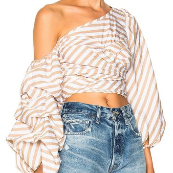 Tan Stripe One Shoulder Tie Strap Ruched Puff Sleeve Top