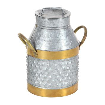 Antique Look Style Gray And Brass Milk Can - 49203 by Benzara