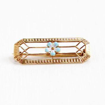 Antique Art Nouveau 14k Rosy Yellow Gold Enamel Flower Bar Pin - Edwardian 1910s Blue Floral Filigree Fine Jewelry