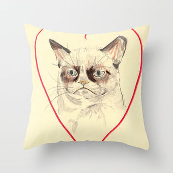 Grumpy Cat Love Throw Pillow | Society6