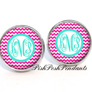 Monogram Earrings - Pink Chevron Stud Earrings - Bridesmaid Gift - Style 542