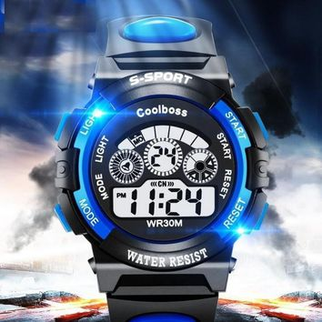 Splendid High Quality Fashion Casual Sports Watches Waterproof Children Boy Digital LED Quartz Alarm Date Wrist Watch