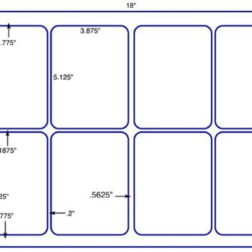 US5438D - 3.875'' x 5.125'' - 8 up label on a 12'' x 18'' sheet.