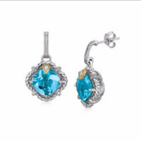 Cushion Blue Topaz and Diamond Embellished Rope Design Earrings in 18K Yellow Gold and Sterling Silver