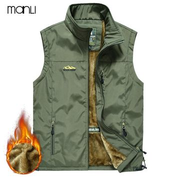 MANLI Spring Men's Outdoor Camping Trekking Sleeveless Vest Winter Fur Breathable Multi-pockets Quick Dry Mesh Waistcoat hombre