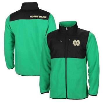 Notre Dame Fighting Irish Tech Polar Fleece Full Zip Jacket – Kelly Green/Black