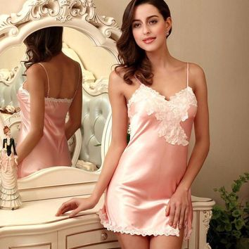 9 Colors Women Sexy Lingerie Satin Nightgown Chemises Slip Sleepwear Deep V Neck Babydoll Nightgowns For Women