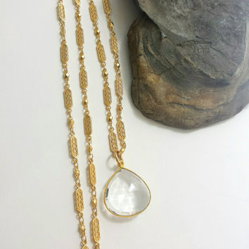 Long Crystal Quartz Pendant Necklace Filigree Gold Chain Boho Jewelry - Long Pendant Necklace