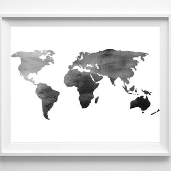Watercolor World Map Print, Printable Black White Wall Art, Minimalist Poster, Monochrome Scandinavian print, Instant Download