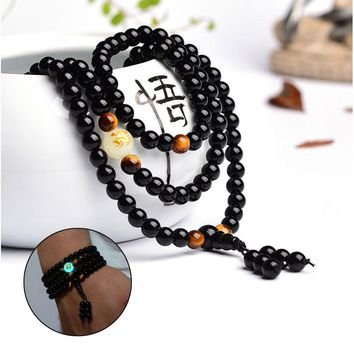 Ethnic Handmade Black Buddha Beads Bangles & Bracelets  Dragon Ball Bracelet Green Glowing In The Dark Men or Women Jewelry