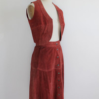 Vintage 70s Rust Red Suede Vest and Circle Skirt | xs small 2