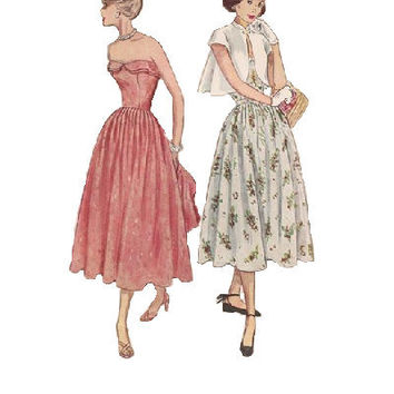 1950s Simplicity Sewing Pattern Vintage Tea Dress Full Skirt Strapless Bodice Formal Day Dress Swing Jacket Bust 32