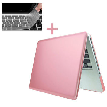 "New Rose Gold Rubberized Matte Case &Keyboard Cover Skin Laptop Cover for MacBook Air Pro Retina 11""12""13""15"" with/no Touch Bar"