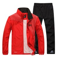 2018 Sport Suit Men Quick Dry Sports Suits Loose Tracksuits Mens Spring Autumn Fitness Running suits Set Warm Jogging Tracksuit