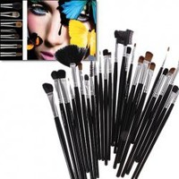 32PCS Full Range of Make-up Brushes Black Wooden Handle Goat Hair