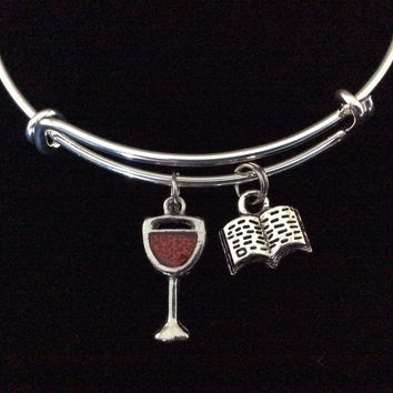 Wine and a Good Book! Expandable Charm Bracelet Adjustable Bangle Birthday Gift Book Club Gift
