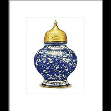 An Ottoman Iznik Style Floral Design Pottery Polychrome, By Adam Asar, No 9a - Framed Print