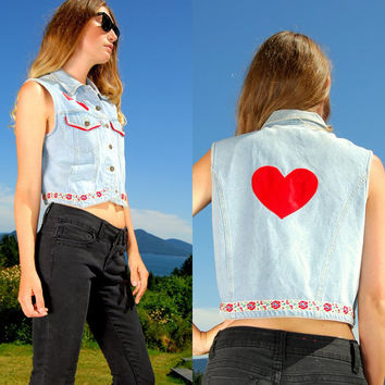 Cropped Denim Vest with Red Hearts, Small Medium Kitschy Embroidered Vest, Light Wash Blue Jean Top, Hipster 90's Grunge, Country Western