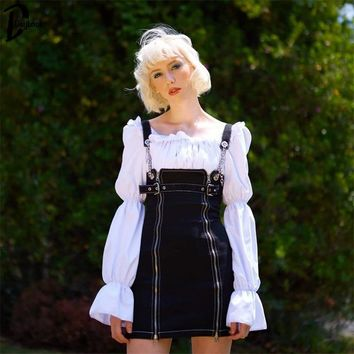 Daylook Chain Buckle Strap Suspender Skirts Harajuku Womens High Waisted A-line Zipped Casual Short Mini Skirt Bib Overalls