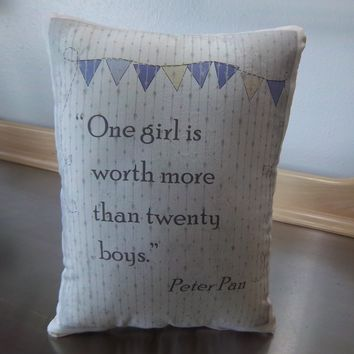 Peter Pan gifts purple cotton pillow gift for girl quote cushion
