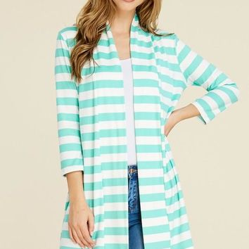 Stripes Ahoy Open Front Cardigan in Mint