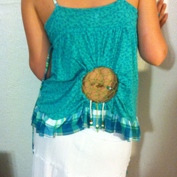 Teal Dreamcatcher tank top by Handspunhomegoods on Etsy