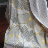 Amy Butler Baby Blanket, Yellow and Gray Minky Blanket, Stroller Blanket, Baby Girl Minky Blanket