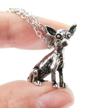 Realistic Chihuahua Puppy Dog Shaped Animal Pendant Necklace in Shiny Silver