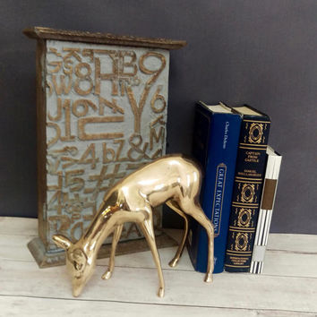 Large Brass Deer/ Brass Doe/ Brass Deer Figurine/ Deer Decor/ Deer Nursery Decor/ Deer Nursery Art/ Brass Deer/ Brass Figurine/ Spring Decor