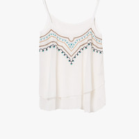White Embroidered Layered Crop Blouse