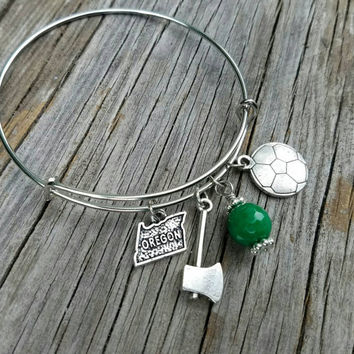 Portland Timbers bracelet - Oregon pride charm bangle.  Perfect holiday or birthd gift for soccer club fans and Portlanders! Go Timbers!