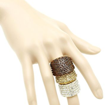 Brown Pave Crystal Stone Armour Knuckle Stretch Ring