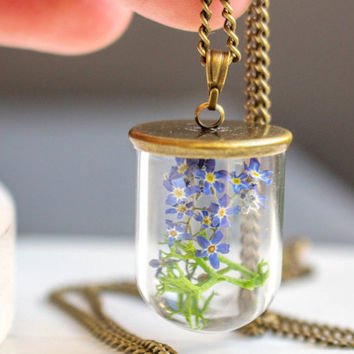 Real Forget me not Necklace, Jewelry Glass Globe Pendant, Blown glass silver chain, blue flower necklace, real Forget me not