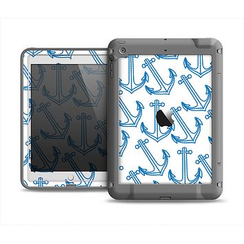 The Blue Anchor Stitched Pattern Apple iPad Mini LifeProof Fre Case Skin Set