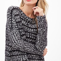 LOVE 21 Striped Shaggy Knit Sweater Black/White