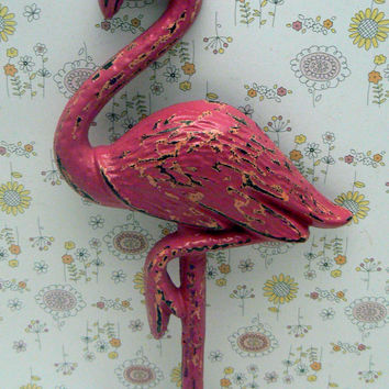 Flamingo Cast Iron Hot Bold Berry Pink Wall Hook Shabby Style Cottage Chic Rustic Nautical Beach Chippy Leash Jewelry Bathroom Pool Decor