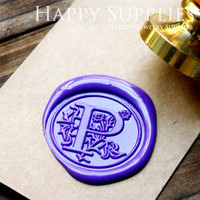 1pcs 25mm Custom Initial Gold Plated Wax Seal Stamp with Vintage Handle (WS164)