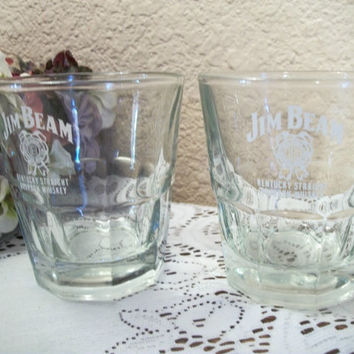 Beverages Glasses Bar Serving Cups Vintage Jim Beam Whiskey Advertising Memorabilia Two Anchor Hocking Sure Guard Cocktail Lowball Drinkware