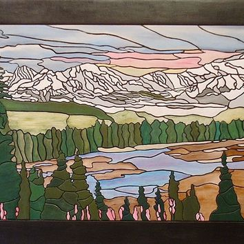 Serene Mountains and Rivers Wood Wall Sculpture. Wall hanging for Home Decor.
