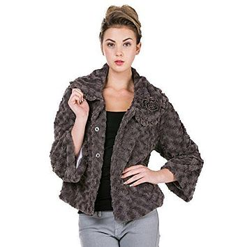 Women's Faux Fur Rosette Jacket with Handmade Corsage