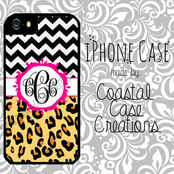 Chevron and Leopard Print Pink Monogram Custom Apple iPhone 4/5 Hard Plastic Cell Phone Case Original Trendy Stylish Monogram Design