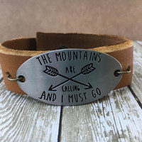 Leather Cuff, Mountain Bracelet, Gypsy Bracelet, Hippy Bracelet, Rustic Leather Bracelet,Everyday Bracelet, Statement Bracelet, Boho Cuff