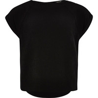 River Island Girls black short sleeve box t-shirt