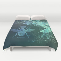 vintage,grunge,teal,green,victorian,floral,chic,shabby,elegant,trendy,girly,template,customizable Duvet Cover by Healinglove Art Products