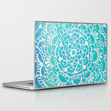 Aqua Turquoise Sparkle - Doodle pattern with aqua galaxy / sparkle Laptop & iPad Skin by Tangerine-Tane