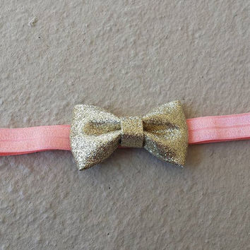 Gold Pink Bow Headband, Gold Bow Headband, Pink Baby Headband, Gold Baby Headband, Infant Headbands, Baby Shower Gifts,Christmas Gifts, Bows