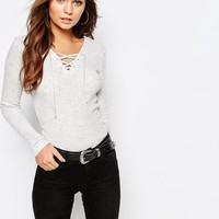 New Look Lace Up Rib Top