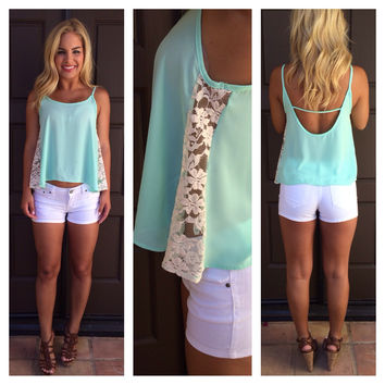 Lace On the Side Tank - MINT